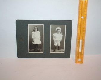 SHIPS FREE!!   Vintage Victorian 1800s Arless Company Montreal, Canada Black White Photo!  Girl on Bearskin Rug Boy in Sailor Suit!