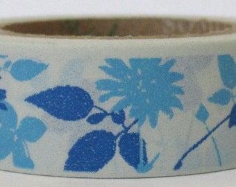 "SALE Washi Tape ""Blue Floral""   10 Meters"
