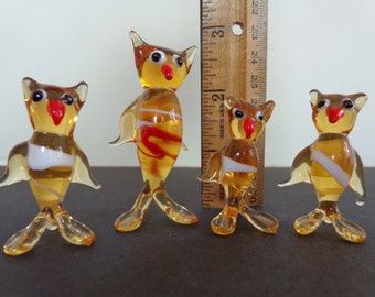 "Venetian Glass Owl Family. 1960's Vintage. 4 Owls. 2.5"" and 1.75"" tall. Mid Century Modern. FREE SHIPPING! Expert packaging! BUY today!"