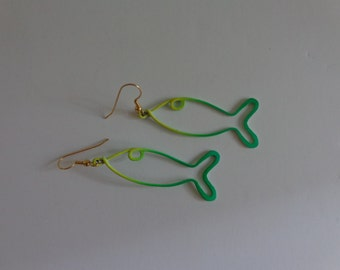 1960's Fish Design Earrings. Pierced. Green, Yellow, Teal. Mid Century Modern. Mod/Beatnik Look. FREE SHIPPING! Expert packaging! BUY today!