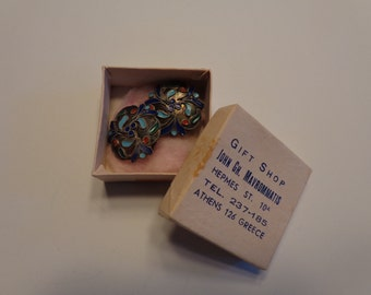 Unique pair of Enamel Earrings. From Greece. 1966. With Original Box. FREE SHIPPING! Expert packaging! BUY today!