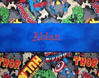 Boys Personalized pillowcase, Spider-Man, superhero, Marvel comic, iron man, hulk, wolverine, christmas, thor, avengers