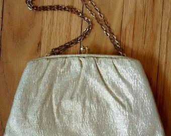 Vintage gold lame clutch
