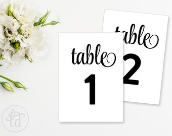 "Wedding Table Numbers - 5""x7"" - Printable - INSTANT DOWNLOAD"