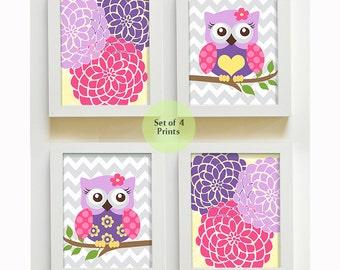 Flower Burst Owl Girl Nursery Wall Art - Owl Nursery Prints, Dahlia Girl Room Decor,  Set Of 4 Prints Pink Purple