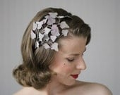 "Gray Headpiece, Lavender Headband, Leaf Hair Accessory Purple, Fascinator 1940s Hairpiece Ivy Vintage - ""Lady in the Mist"""