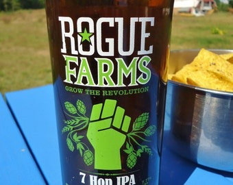 Recycled Rogue Farms Grow the Revolution Seven Hops IPA Bottle Glass