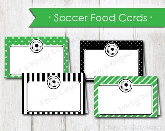 Soccer Food Cards - Instant Download