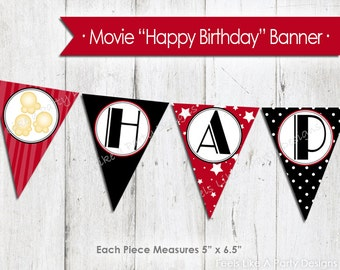 Movie Night Happy Birthday Banner - Instant Download