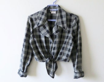 RESERVED RESERVED 90s Cropped Tie Blouse Black and Grey PLAID Button Down Women Size Small