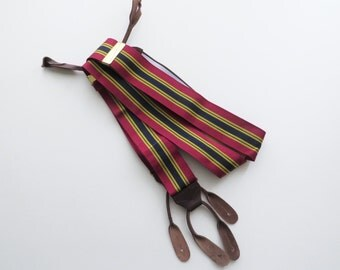 Vintage Red and Blue Stripe Suspenders Button Trouser Braces with Leather Drop Ends Preppy Nautical