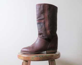 90s Leather Winter Boots Wool Lined Women Size 7 1/2 or 38