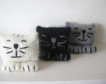 Knitted Mohair Kitten, Desk Top Toy, Knitted Cat, White, Grey, Black