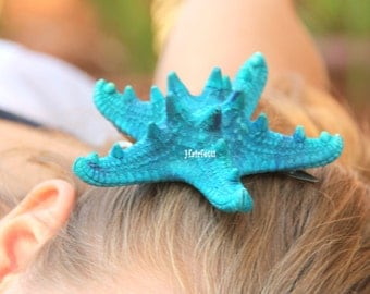 BIG Aquamarine starfish barette, starfish hair clip, mermaid hair clip,  mermaid barette, mermaid starfish, mermaid costume, little mermaid