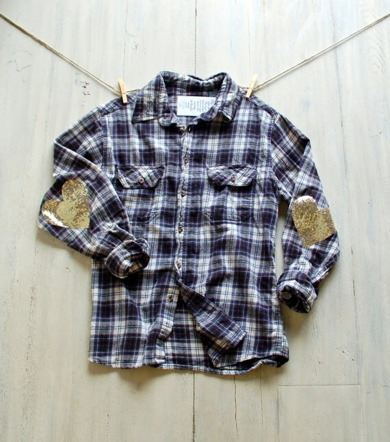 Womens flannel shirt with elbow patches gray cardigan for Mens flannel shirt with elbow patches