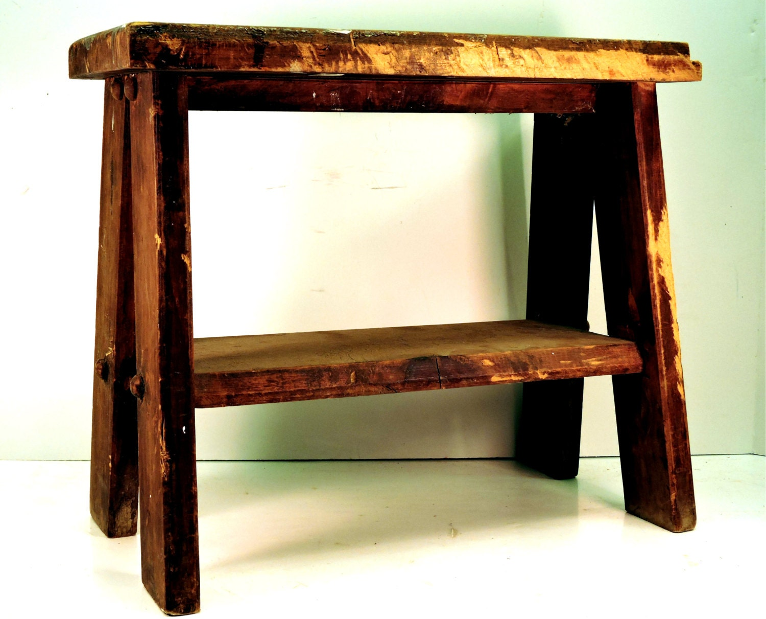 Wood Stool Vintage Step Stool Wooden Bucket Bench By