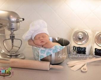Chef Set - Baker Set- Newborn - Crochet - Photography Prop