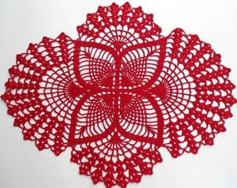Red lace oval doily home decor crochet