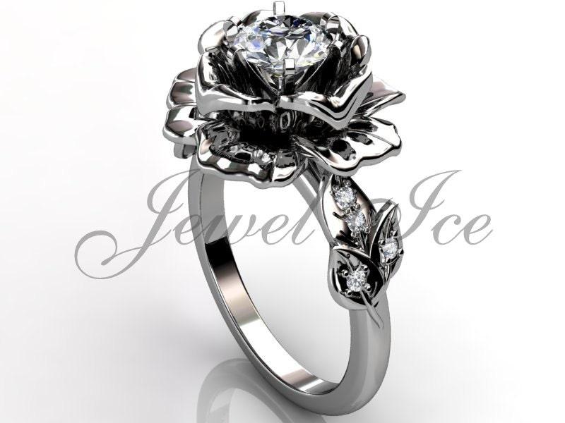 14k white gold unique flower engagement ring