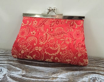 Vintage Asian Silk Red And Gold Coin Purse, Floral Purse, Small Change Purse