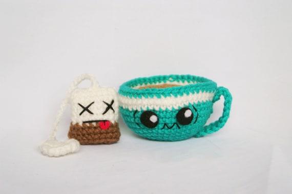 Trembling Tea Cup and Tea Bag Amigurumi Quirky Collection