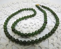 """Nephrite Green SPINACH JADE Bead 20"""" NECKLACE, Silk Tread, Gold Filled Clasp, Edwardian Nouveau Fashion Statement Classic Jewelry"""