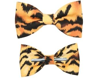 Tiger Print Clip On Cotton Bow Tie Bowtie ~ Choose Men's or Boys Sizes ~ Animal Print Bowtie