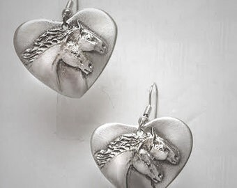 Horse earrings, Two Horse earrings in silver-pewter handmade by the artist USA