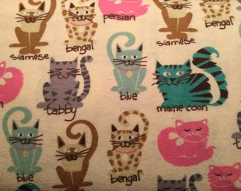 FLANNEL - Cat Fabric - Bengal Fabric - Tabby Fabric - Maine Coon Fabric - Persian Fabric - Blue Cat Fabric