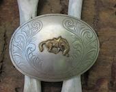 70s Western Rodeo Award Belt Buckle // Vintage Country Western Belt Buckle in Nickel Silver
