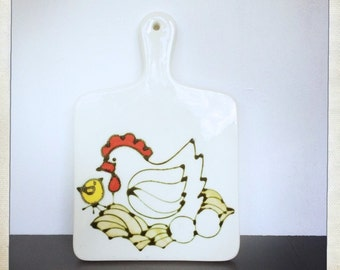 vintage hanging trivet chicken hen eggs Ardencraft Kate Kelly cutting board shaped rustic farmhouse