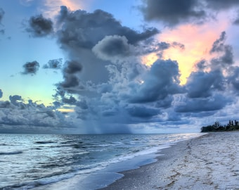 Sunset Photography // Englewood Beach // Gulf of Mexico // Silvery Blue Sunset // Manasota Key Florida // Beach House Decor