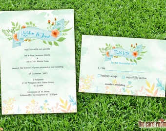 Wedding Invitation and RSVP Card Suite - Aqua Theme Watercolour Floral Banner Printables
