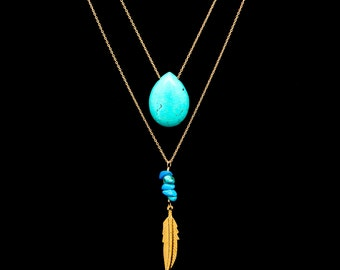Turquoise and Gold Feather Long Necklace, Double Necklace, Layered Necklace, Turquoise Briolette Drop