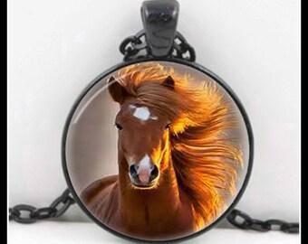 Horse Pendant - Horse Jewelry - Horse Necklace - Glass Art Pendant - Wearable Art Pendant - P-QQ-4