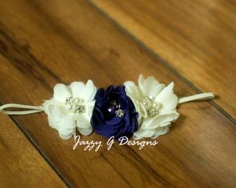 Plum & Ivory Triple Flower Baby Headband- Photo Prop