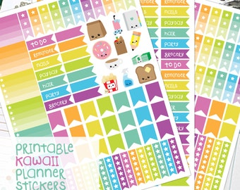 Printable Planner Stickers, Kawaii Planner, Planner Printables, planner supplies, Ombre Box, Checklist Flags, Planner Prints