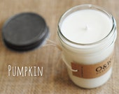 Pumpkin, 8oz Soy Candle in a Reusable Glass Jar