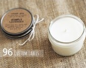 96 custom wedding, shower, party, or event favors. Handmade soy candle gifts with personalized labels.