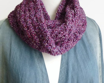 Purple cowl, hand knit circle scarf, UK scarf shop