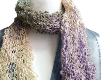 knitting scarf, hand knit scarf, pastel lacey neckwarmer, UK scarf shop