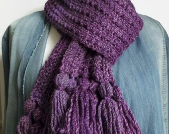 Knitting scarf, purple knitted scarf, hand knit neckwarmer, UK scarf shop