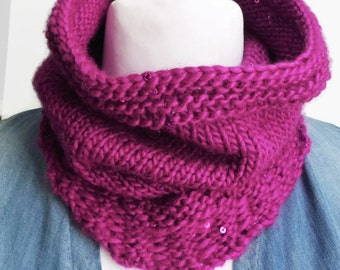 Cerise cowl neck scarf, eternity scarf, sequin scarf cowl, fancy scarf, knitted neck wrap, ladies scarf, knit cowl scarf, pink muffler scarf