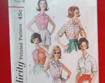 Size 18 Bust 38 1960s Women's Simple to Make Blouses