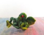 Tentacles Needle Felted Cthulhu - Baby Dread Lovecraft God Needs with Curly Octopus Face
