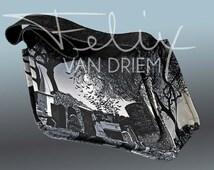 Custom motif cotton denim bag with inside pocket
