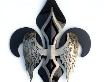 """18"""" 2-Part Wing Fleur De Lis Black"""
