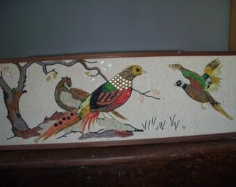 Very Large Handmade Vintage Gravel Art Bird Aviary