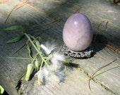 Lavender Rose Quartz Crystal Egg  Lavender Quartz  Brazil  51mmx38mm Vintage Old Stock Estate Piece