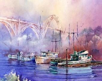 Newport Bay - Watercolor Painting Print By Michael David Sorensen. Oregon Coast. Bridge. Fishing Boats. Purple. Pacific Northwest Art.